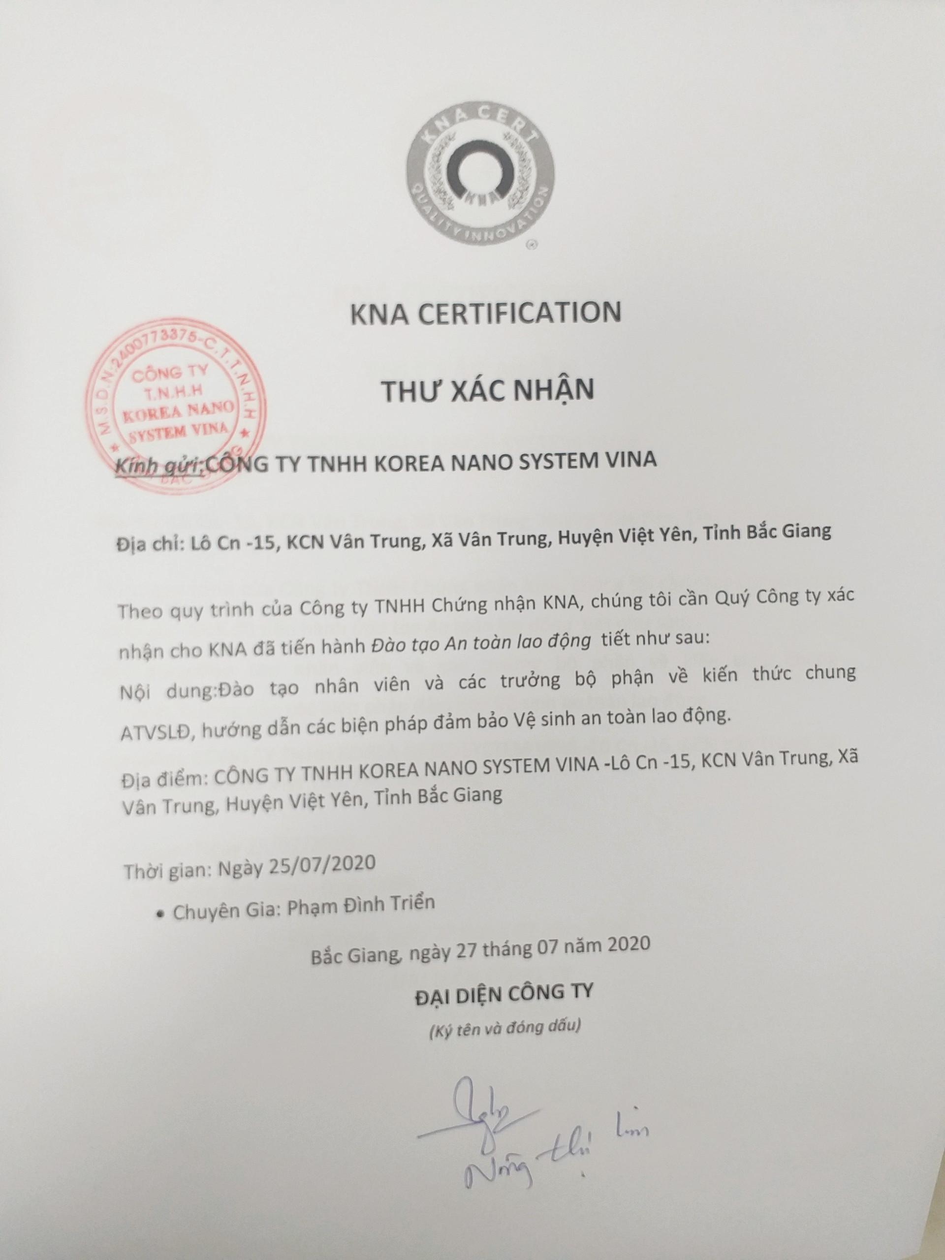 Đào tạo An toàn Lao động cho Công ty TNHH Korea Nano System Vina